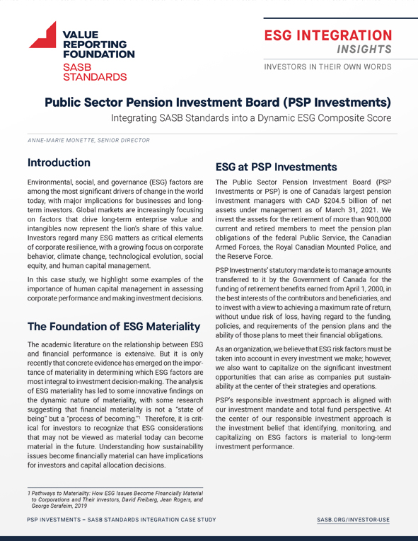 ESG Integration Insights: Public Sector Pension Investment Board (PSP)